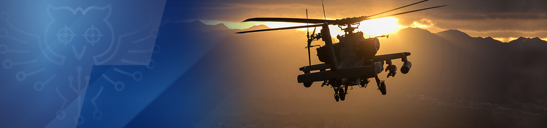 helicopter flying into sunset