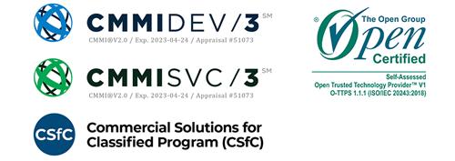 certifications - cmmi, CsfC, Open Group